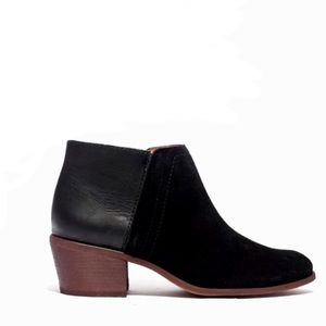 Madewell | Cait Low Leather & Suede Ankle Bootie